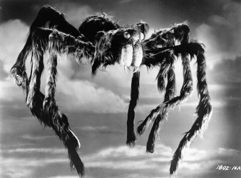Tarantula (Universal-International, 1955). Deemer's nutrient achieves a possible solution to world hunger by yielding crops of immense size, but the side effects include gigantism in animals and insects and acromegaly, a strangely de-forming glandular disease, in humans. Driven mad by the disease, Lund returns to the lab, overcomes Deemer in order to inject him with the nutrient, and in the process, accidentally releases a rapidly growing giant tarantula. Click to enlarge.