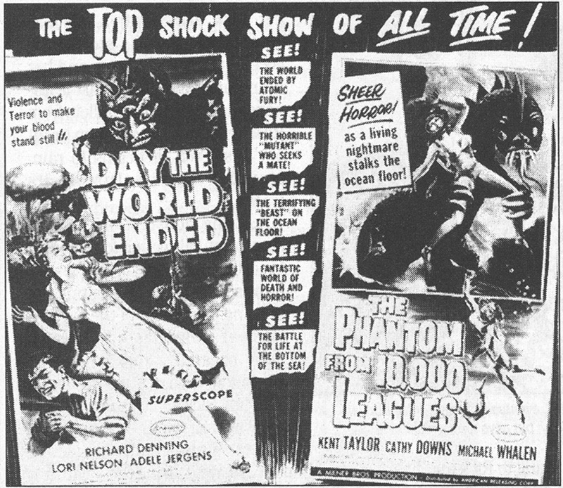 Albert Kallis, Day the World Ended/ The Phantom from 10,000 Leagues, January 1956, ARC. Based on Albert Kallis's poster art, this black and white newspaper ad appeared across the U.S. announcing a brand new phenomenon—the all-science fiction double feature. Click to enlarge.