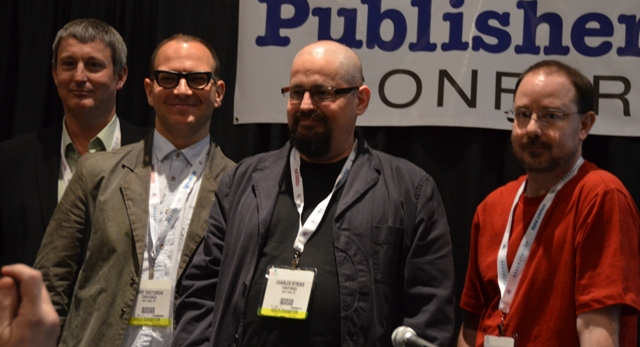 Fritz Foy, Cory Doctorow, Charles Stross, and John Scalzi