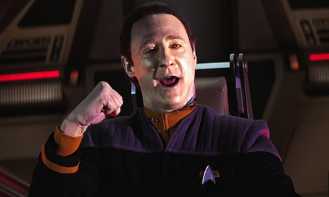 This scene of Data singing and winking at the camera actually takes place in a Star Trek movie