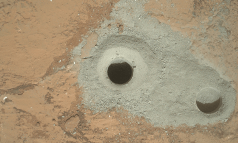 Curiosity's first sample drilling—NASA/JPL