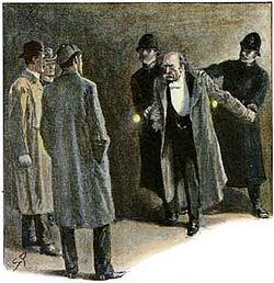 Paget's illustration of Moran's arrest in THE EMPTY HOUSE