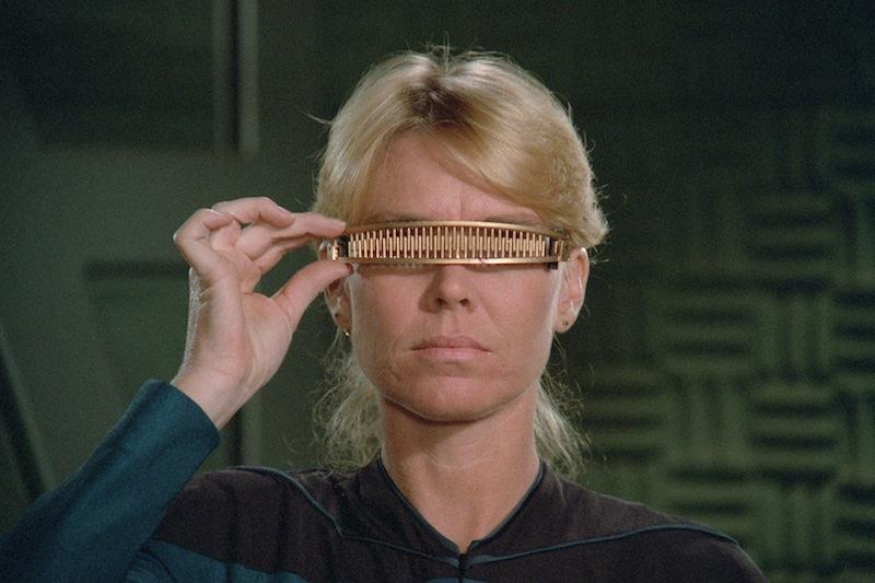 A test for Geordi's VISOR (Photo credit: CBS Digital)