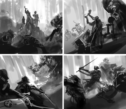 The Great Hunt ebook cover sketches by Kekai Kotaki