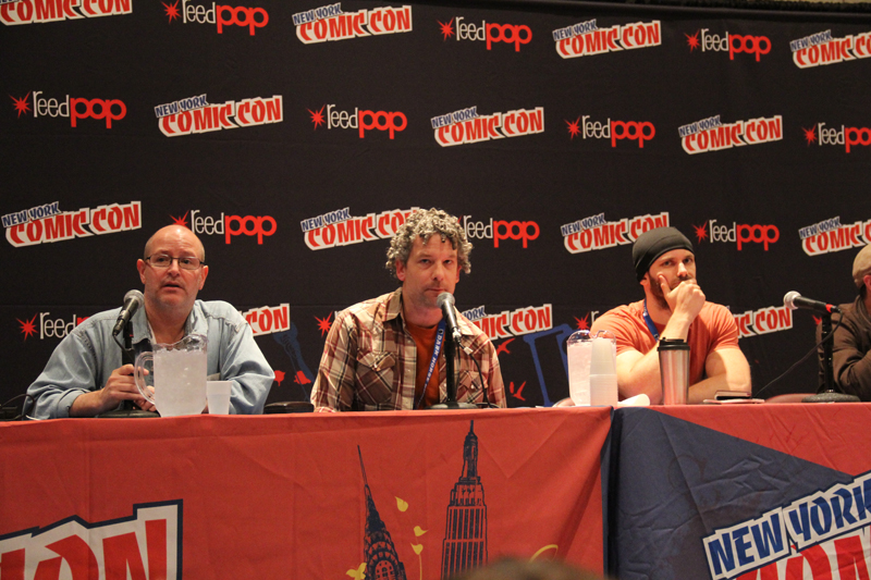 Mike Mignola, Scott Allie, and Tyler Crook. Not pictured: James Harren
