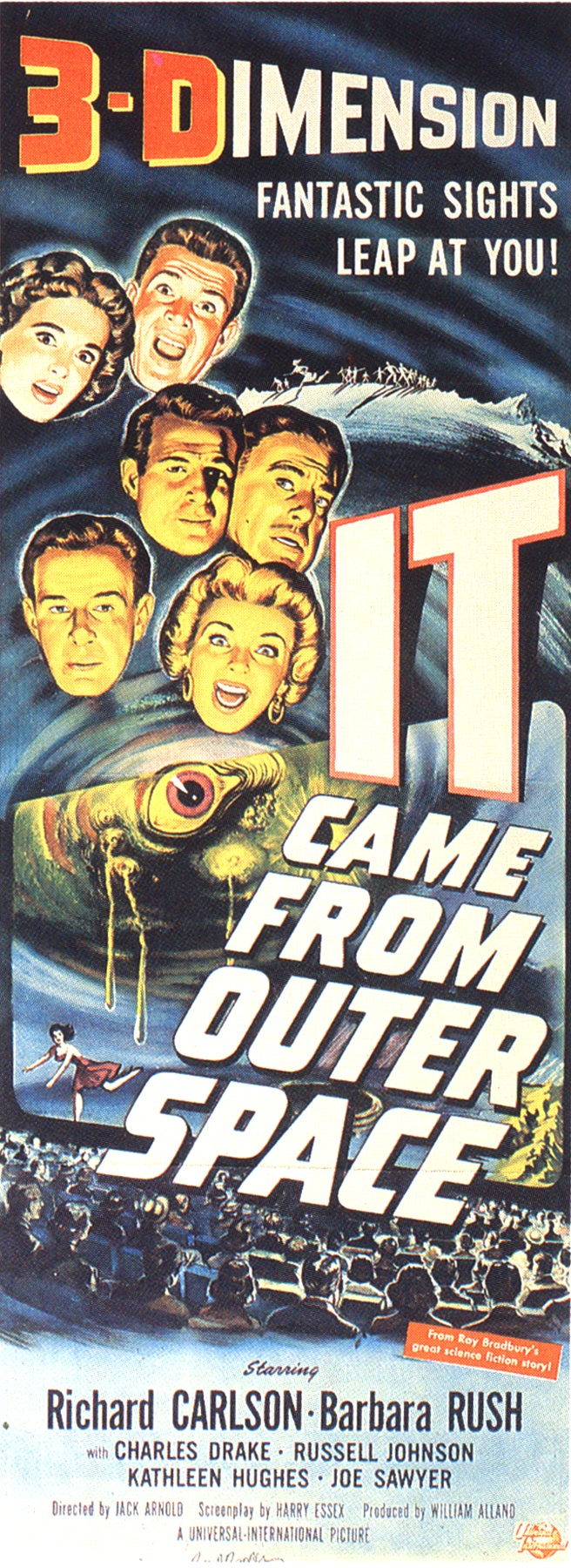 Joseph A. Smith, illustrator, It Came from Outer Space, 1953, gouache on board, art for insert card, Universal-International Pictures. Click to enlarge