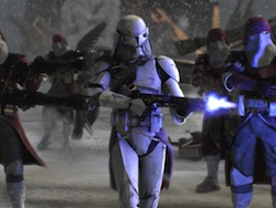 Clone trooper firing a blaster