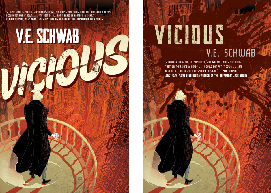 Alternate covers for V. E. Schwab's Vicious.