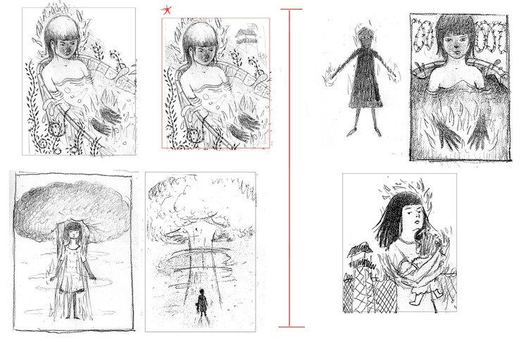 Scott Bakal's thumb sketches for At the Foot of the Lighthouse