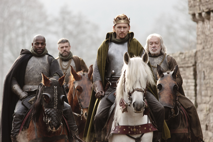 The Hollow Crown Henry V cast in corresponding battle colors.