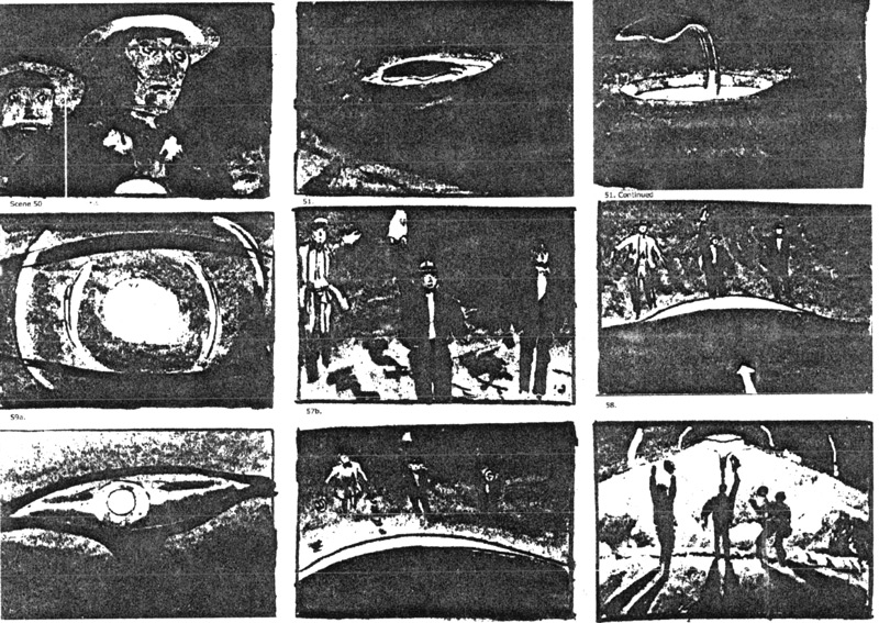 Storyboard drawings for George Pal's production of The War of the Worlds were supervised by the film's unit art director, Albert Nozaki.  These drawings show scenes 50 through 60 in which three men, posted as guards at the site of a fallen meteor, are disintegrated by a Martian heat ray. Click to enlarge.