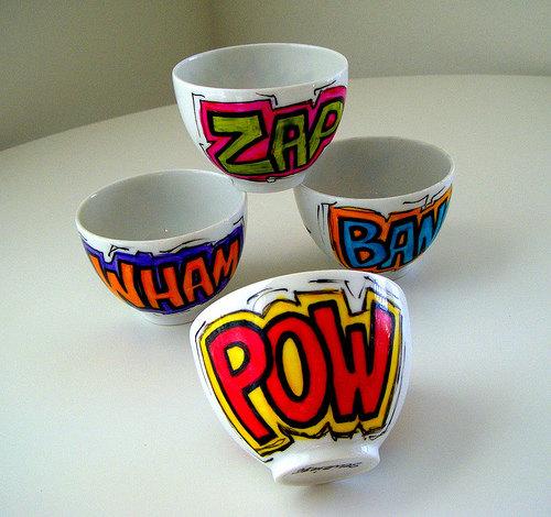 Comic Sound Effect Sake Cups by SewZinski