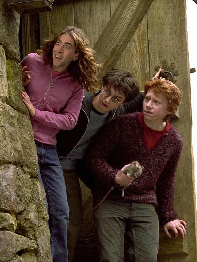 Nicolas Cage as everyone Hermione Hogwarts