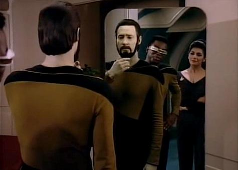 Star TrekL The Next Generation, Data, Geordi, Troi, beard