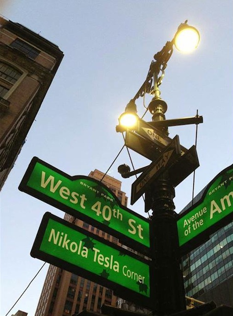Tesla Corner in Manhattan