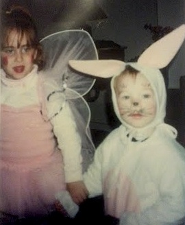 Hand-me-down rabbit costume, and a very pink Tinkerbell.