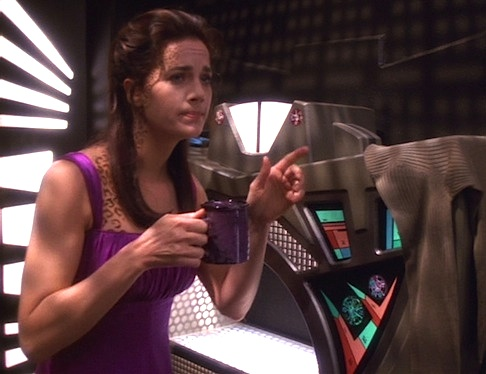 Jadzia is pretty hungover, but at least her mug matches her nightgown