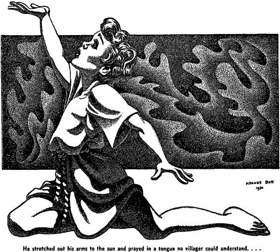 Hannes Bok illustration Cats of Ulthar Lovecraft reread