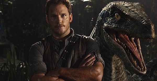 Christ Pratt and a Velociraptor