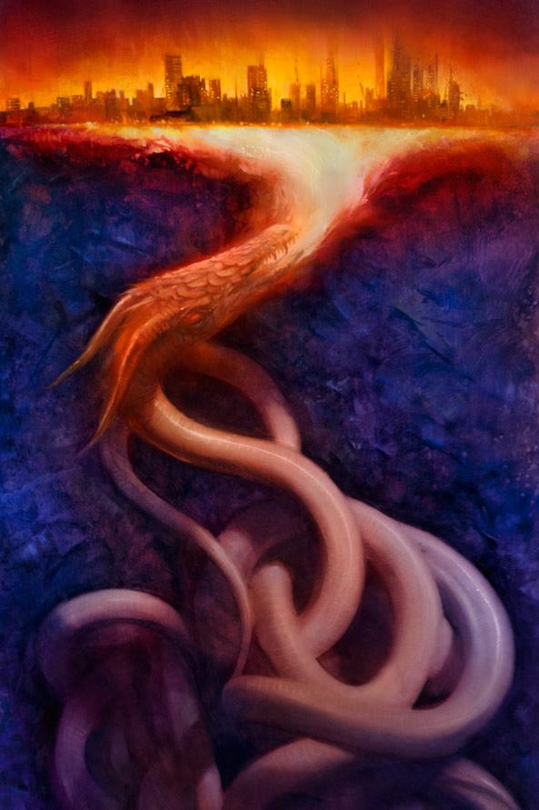 Robert Hunt artwork for Garth Nix's Fire Above, Fire Below
