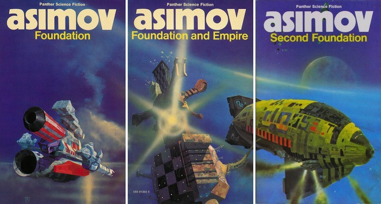 Chris Foss spaceships book covers Asimov