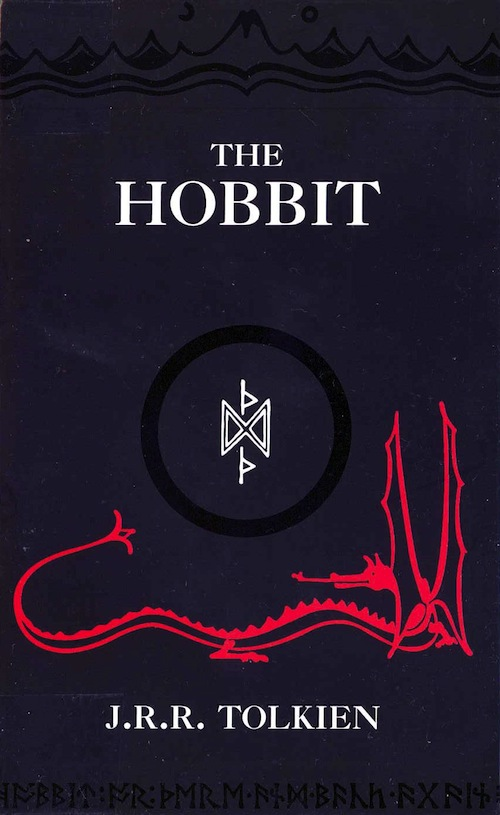 The Hobbit book cover J.R.R. Tolkien dragon mountain