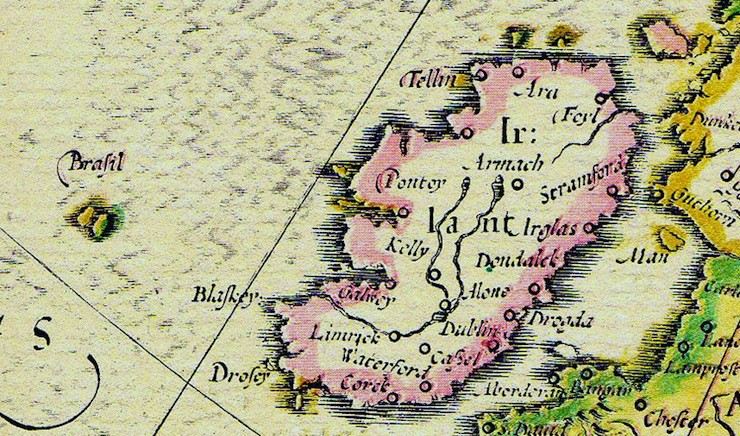 Five mythical islands of the atlantic ocean your guide to summer hy brasil shown on map of ireland by abraham ortelius 1572 gumiabroncs Image collections