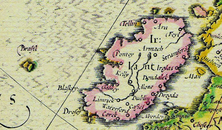 Hy-Brasil shown on map of Ireland by Abraham Ortelius, 1572