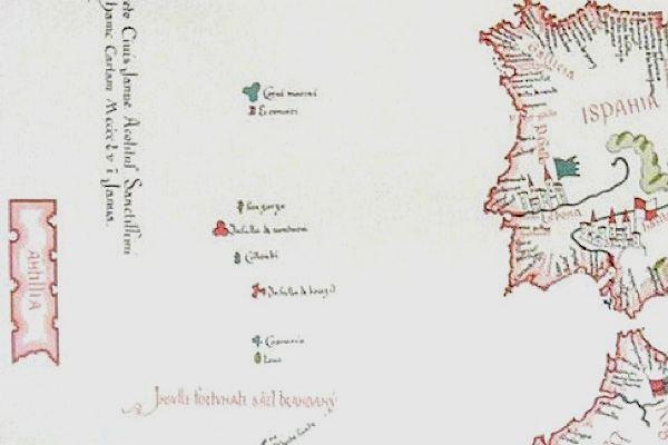 Antilla (far left) shown on Bartholomeo Pareto's map, 1455