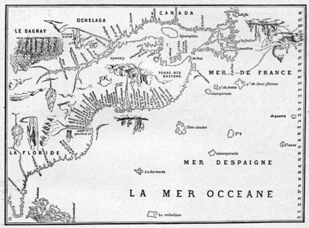 Isle of Demons shown on Dauphin Map of Canada, 1543