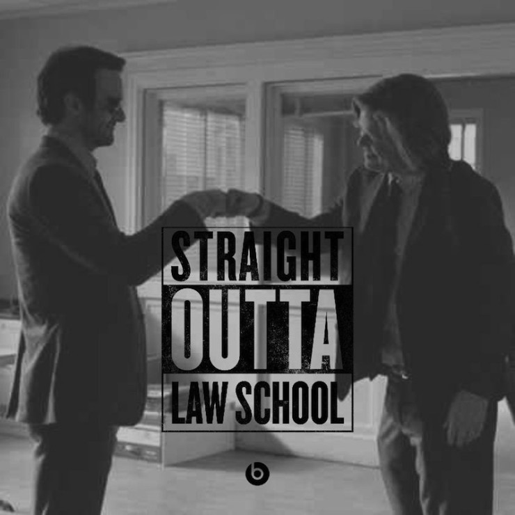 #StraightOutta geeky meme Daredevil fist bump