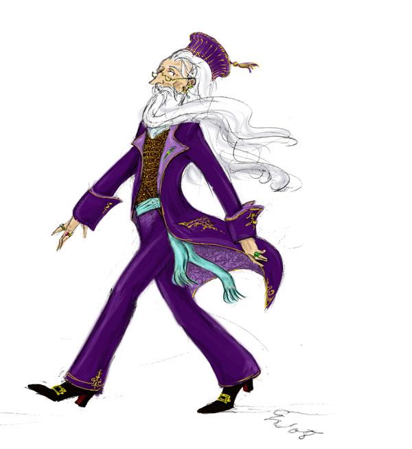 Dumbledore in velvet suit, by TomScribble