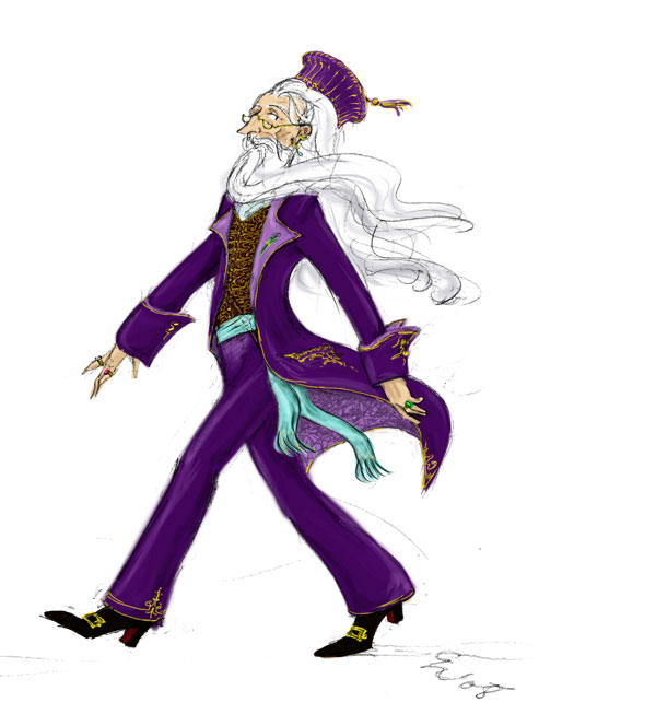 Dumbledore in velvet suit, by TomScribble