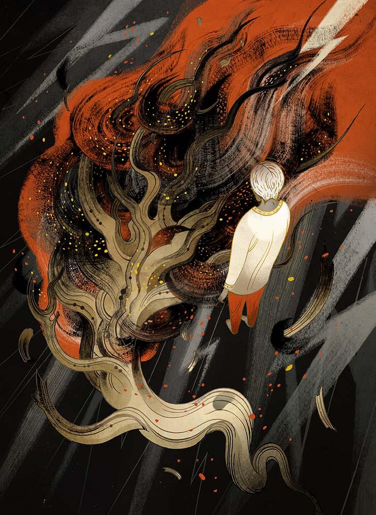 Victo Ngai for Usman Malik's The Pauper Prince and the Eucalyptus Tree