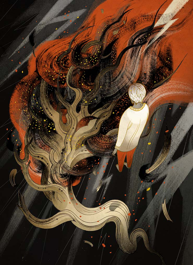 Victo Ngai for Usman Malik's The Pauper Prince and the Eucalyptus Tree