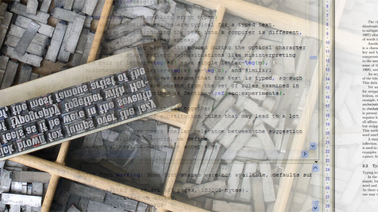 Metal movable type photo by Willi Heidelbach. Image modified for this piece.