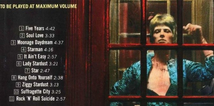 back of Ziggy Stardust album, David Bowie, to by played at maximum volume