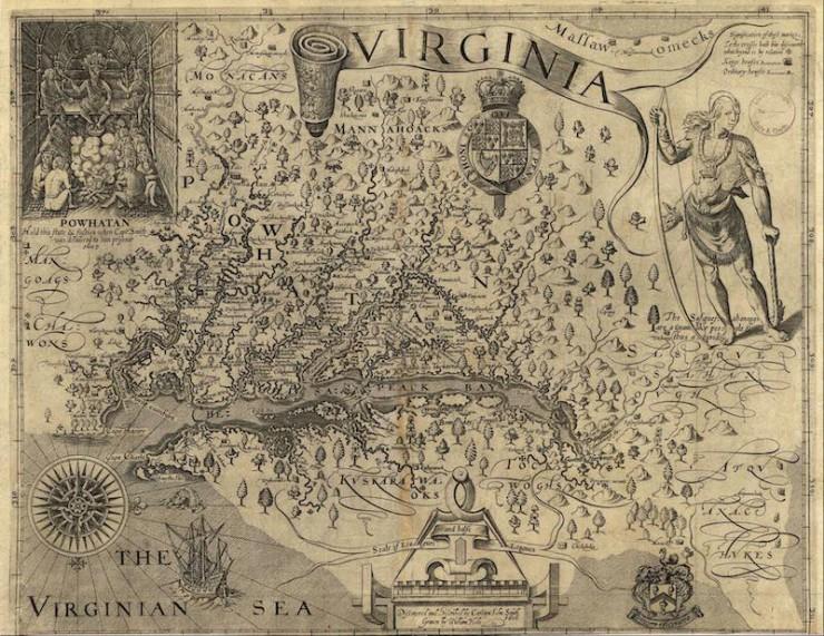 John Smith map Chesapeake Bay Virginia colonies
