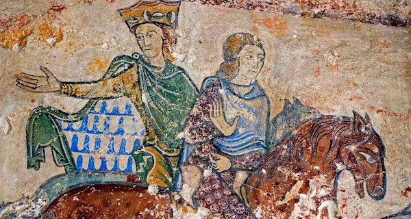 Detail of wall painting from the chapel of Sainte-Radegonde in Chinon, depicting Eleanor of Aquitaine and her daughter Jeanne.