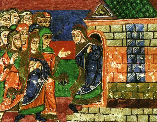 """Radegund retires to the monastery dedicated to the Virgin Mary."""