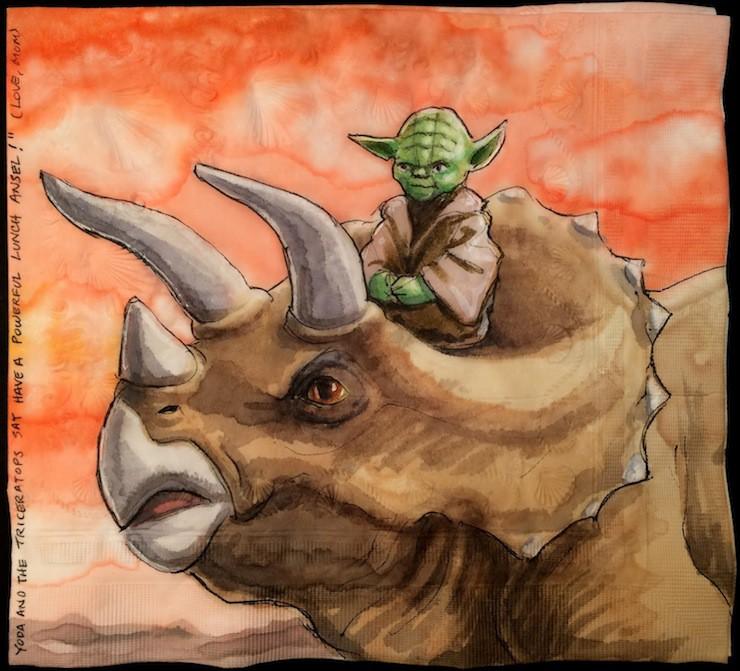 Nina Levy, napkin art, Star Wars characters on dinosaurs
