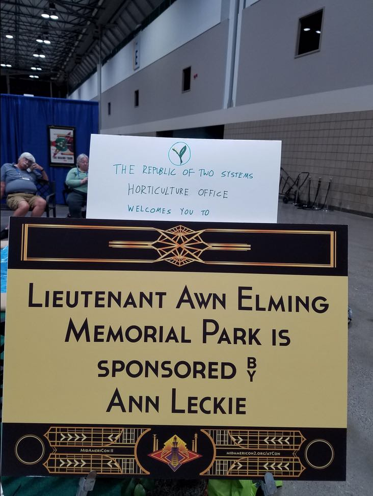 Ancillary Justice Lieutenant Awn Memorial Park Worldcon Ann Leckie tea breaks