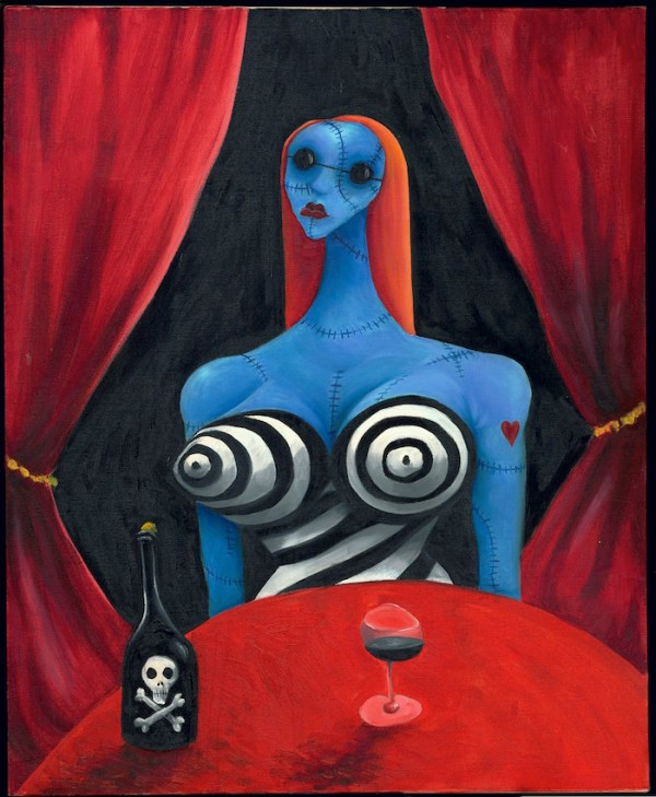 Blue Girl with Wine