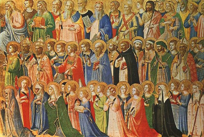 """""""The Forerunners of Christ with Saints and Martyrs"""" by Fra Angelico (c.1423-4)"""