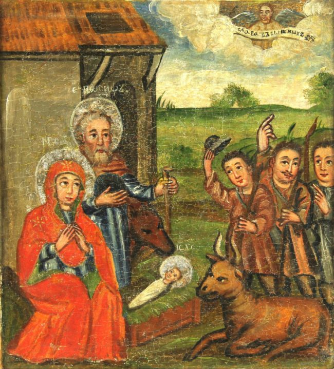 A 17th-century Ukrainian icon. I love the shepherd doffing his cap. Such a gent!