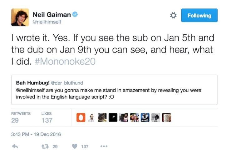 Neil Gaiman Princess Mononoke tweet