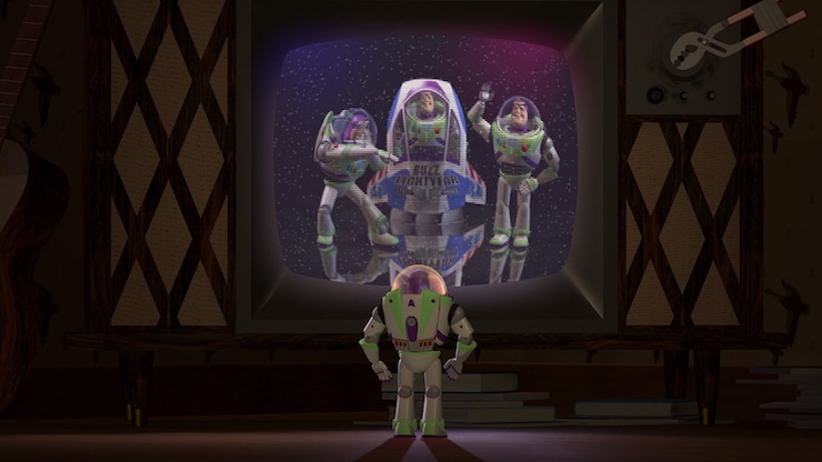 Buzz Lightyear watching a Buzz Lightyear toy commercial in Pixar's Toy Story
