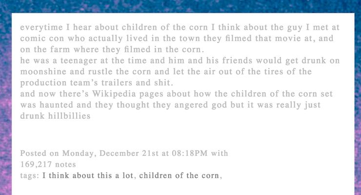 children of the corn set story, Tumblr