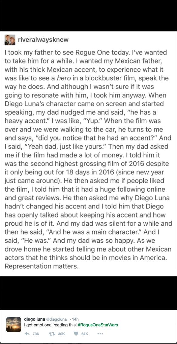 Diego Luna Rogue One accent fan story representation Mexican father
