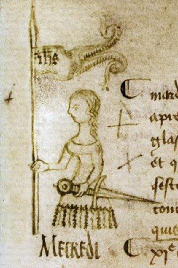 Joan of Arc depicted in a manuscript dated May 10, 1429